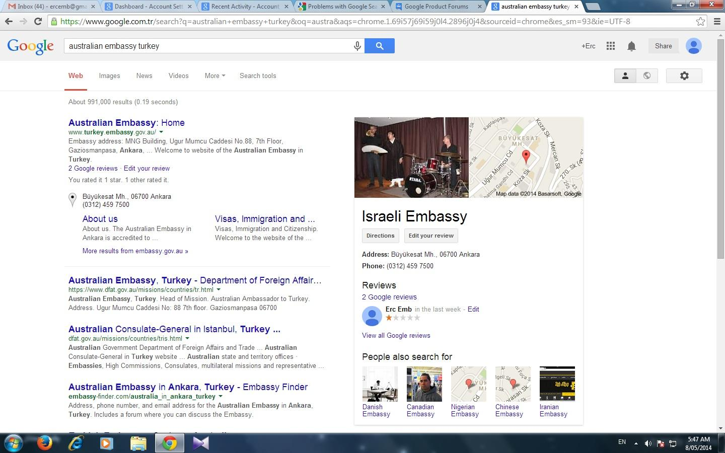 Google results small map window and greif details box is ...