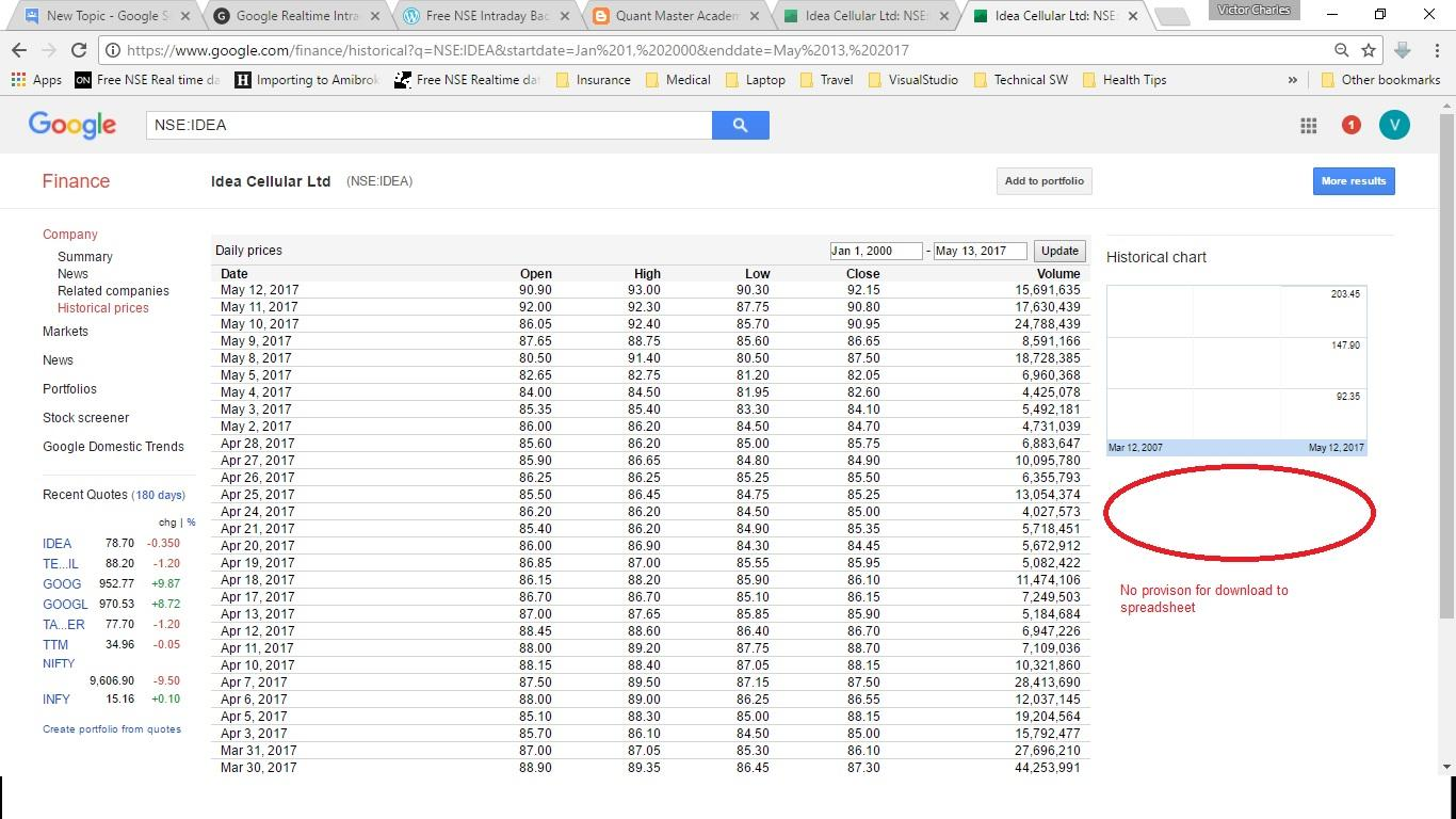 No provision to download EOD NSE (India) historic Stock data to