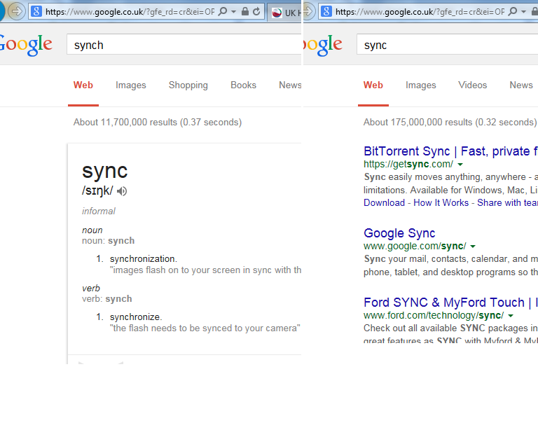 Synch Vs Sync search results bug? - Google Search Help