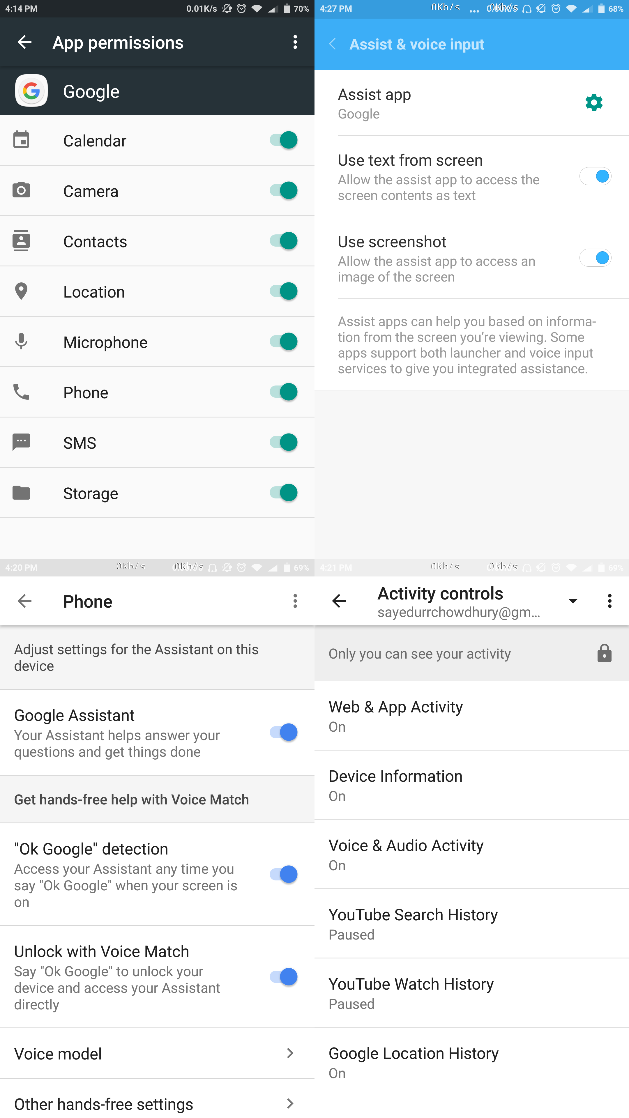 Google Now's Reminders, Customize and Your Feed grayed out