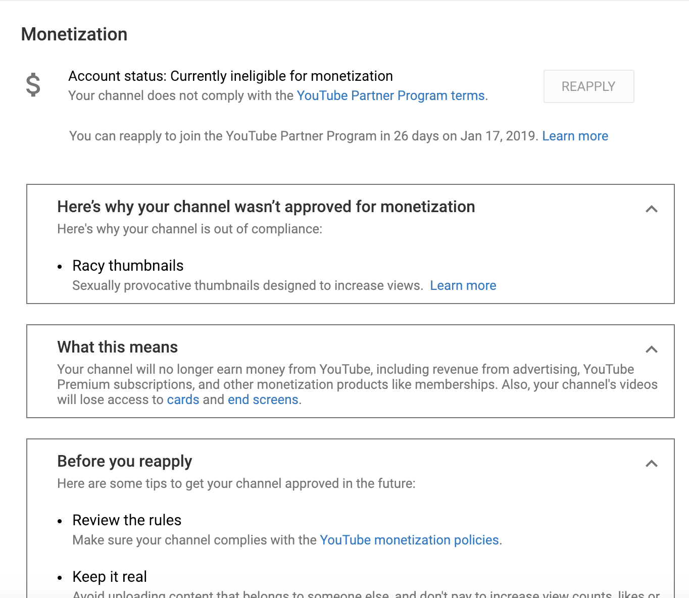 Monetization disabled because thumbnails with Good Community