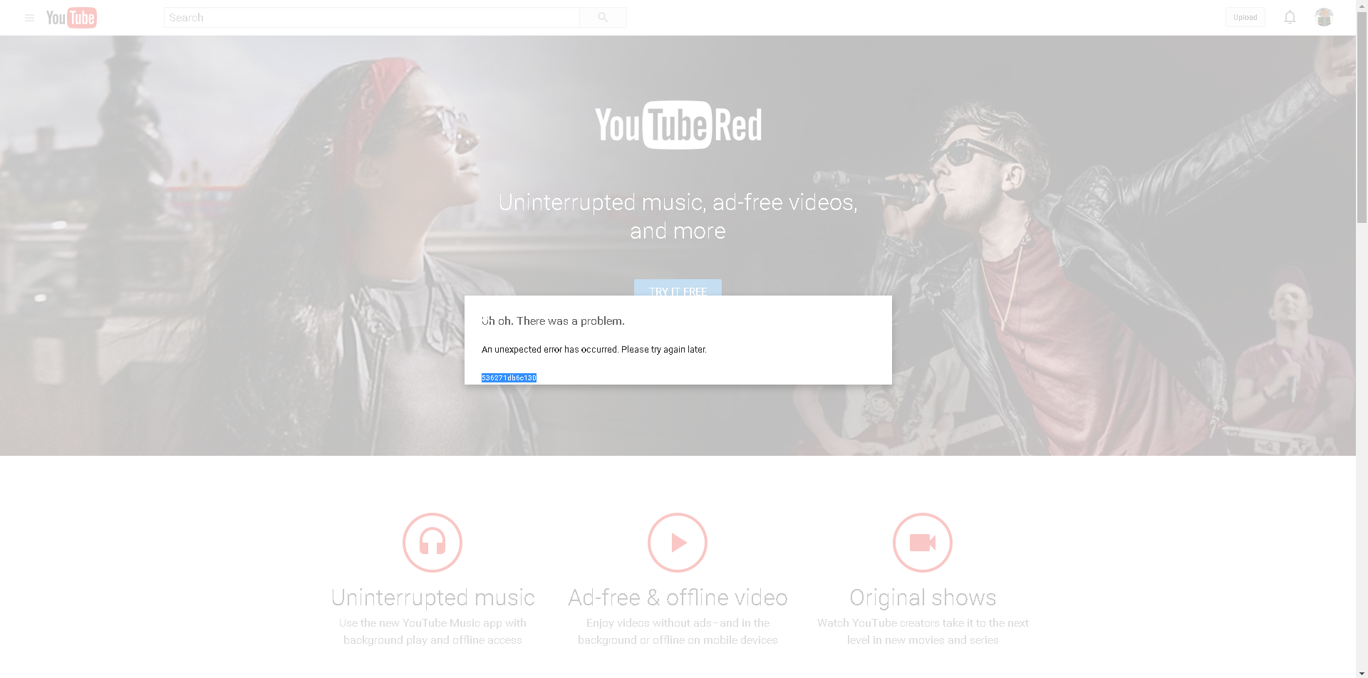YouTube Red Free Trial Causing