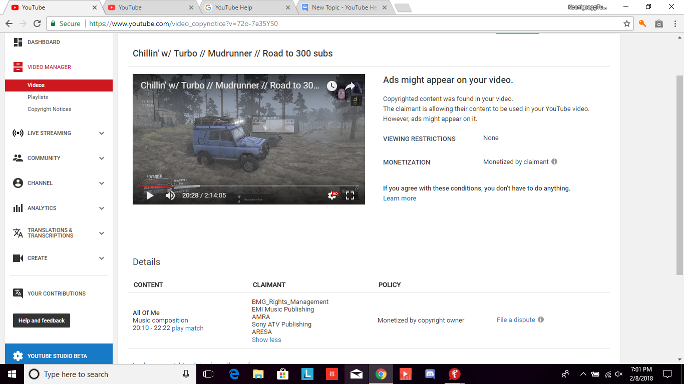 why did I receive a copyright claim for singing? does