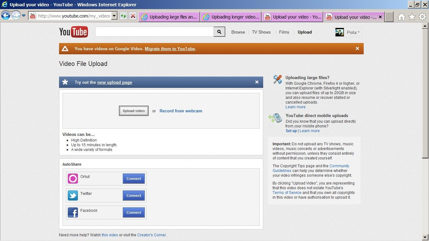 CAN NOT find link in upload page to 'verify' my account so