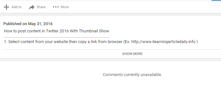 My comment button on Youtube Channel currently unavailable