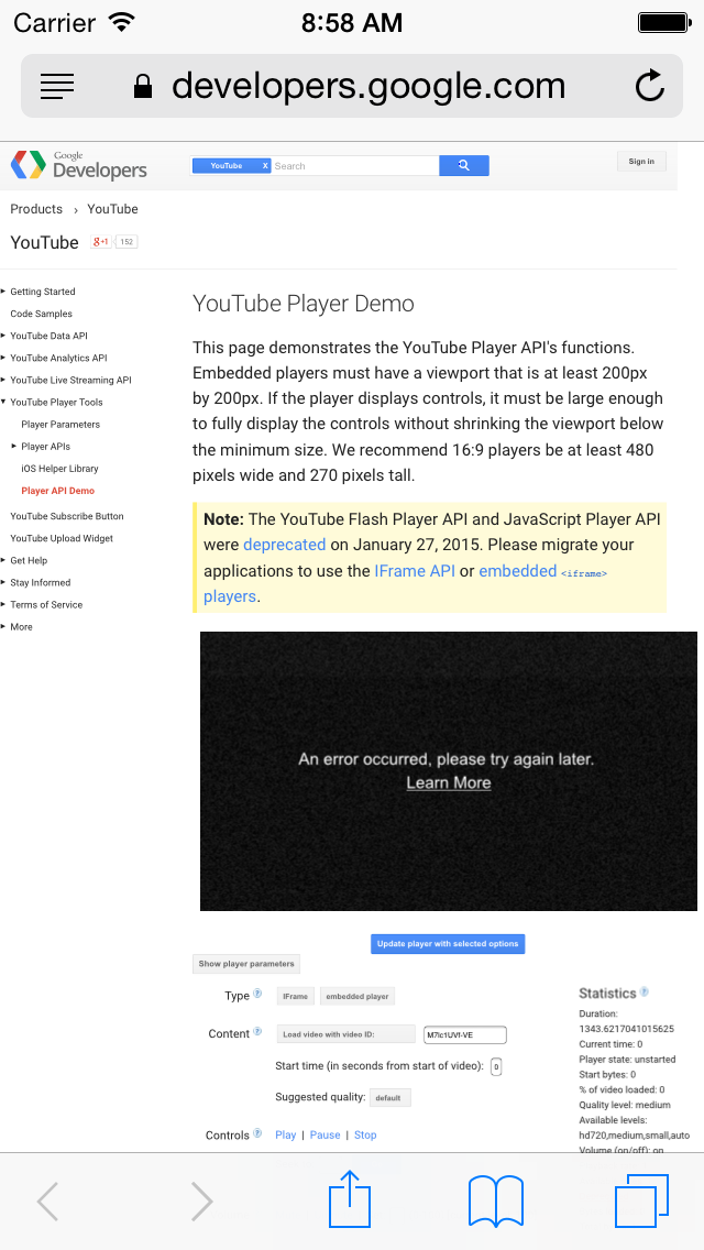 The embedded iframe code for youtube on our website stop